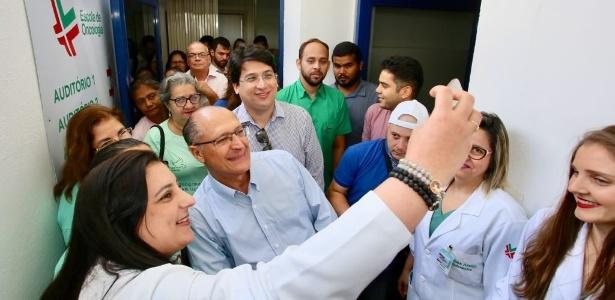 Geraldo Alckmin durante agenda de campanha eleitoral nesta sexta em Natal