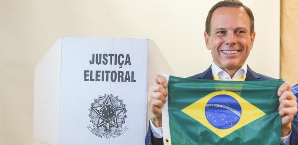 João Doria no domingo pela manhã, logo após votar em uma escola da capital paulista