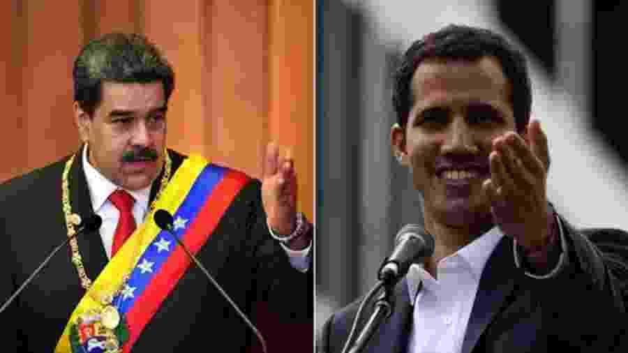 Nicolás Maduro (à esq.) e Juan Guaidó - Getty Images/BBC