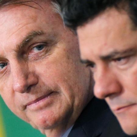Presidente Jair Bolsonaro e ministro da Justiça, Sergio Moro, no Palácio do Planalto -