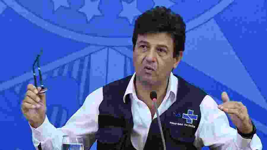 Luiz Henrique Mandetta, ministro da Saúde, durante coletiva sobre atualizações de dados da covid-19 - EDU ANDRADE/FATOPRESS/ESTADÃO CONTEÚDO