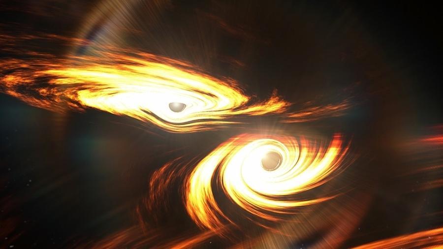 Desenho mostra como seria o momento anterior à fusão de dois buracos negros - Ligo-Virgo Collaboration
