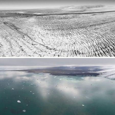 Imagens do glaciar Breiðamerkurjökull em 1989 (em cima) e 2019 (embaixo) mostram camada de gelo perdida em três décadas - NATIONAL LAND SURVEY OF ICELAND/KIERAN BAXTER