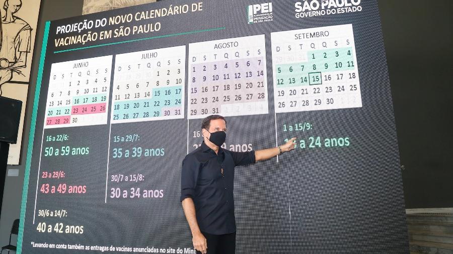 O governador de São Paulo, João Doria (PSDB), anuncia novo calendário de vacinação contra a covid-19 no estado - Divulgação/Governo do Estado de São Paulo