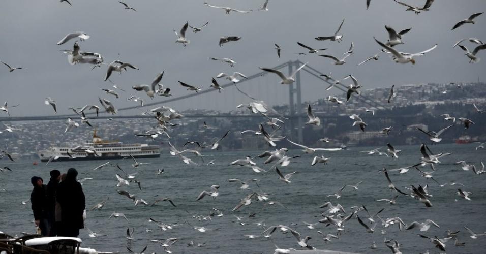18.jan.2016 - Revoada de gaivotas toma a paisagem no estreito de Bósforo, em Istambul, na Turquia