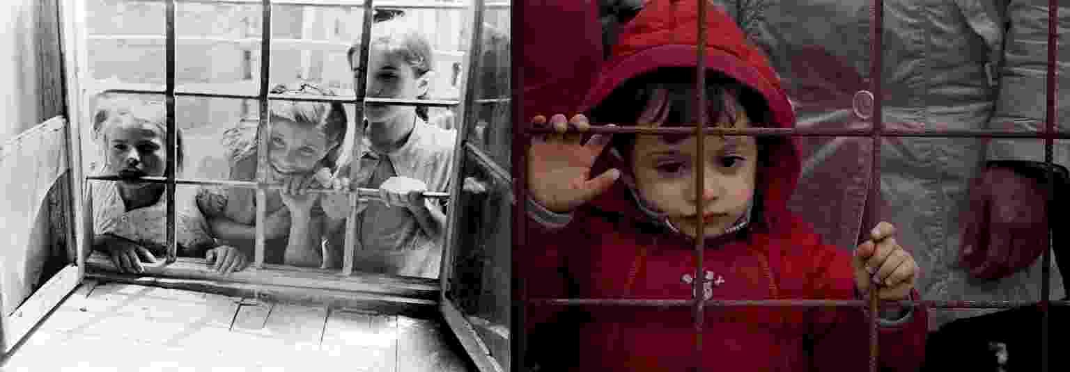 A semelhança entre as duas situações é tocante. De um lado, crianças na Grécia em 1946 olham pelas grades de uma janela de uma escola em que foi montada clínica médica. De outro, um garoto fica em pé em cerca de arame na Macedônia no ano de 2015 - UNICEF/UN04768/Gilbertson VII
