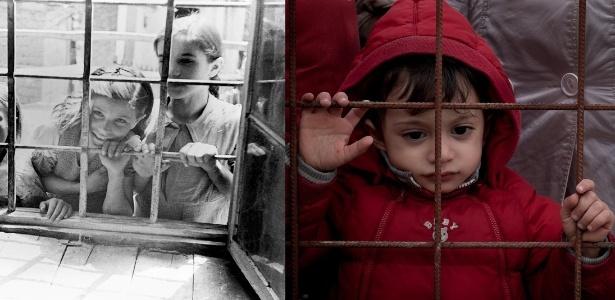 A semelhança entre as duas situações é tocante. De um lado, crianças na Grécia em 1946 olham pelas grades de uma janela de uma escola em que foi montada clínica médica. De outro, um garoto fica em pé em cerca de arame na Macedônia no ano de 2015