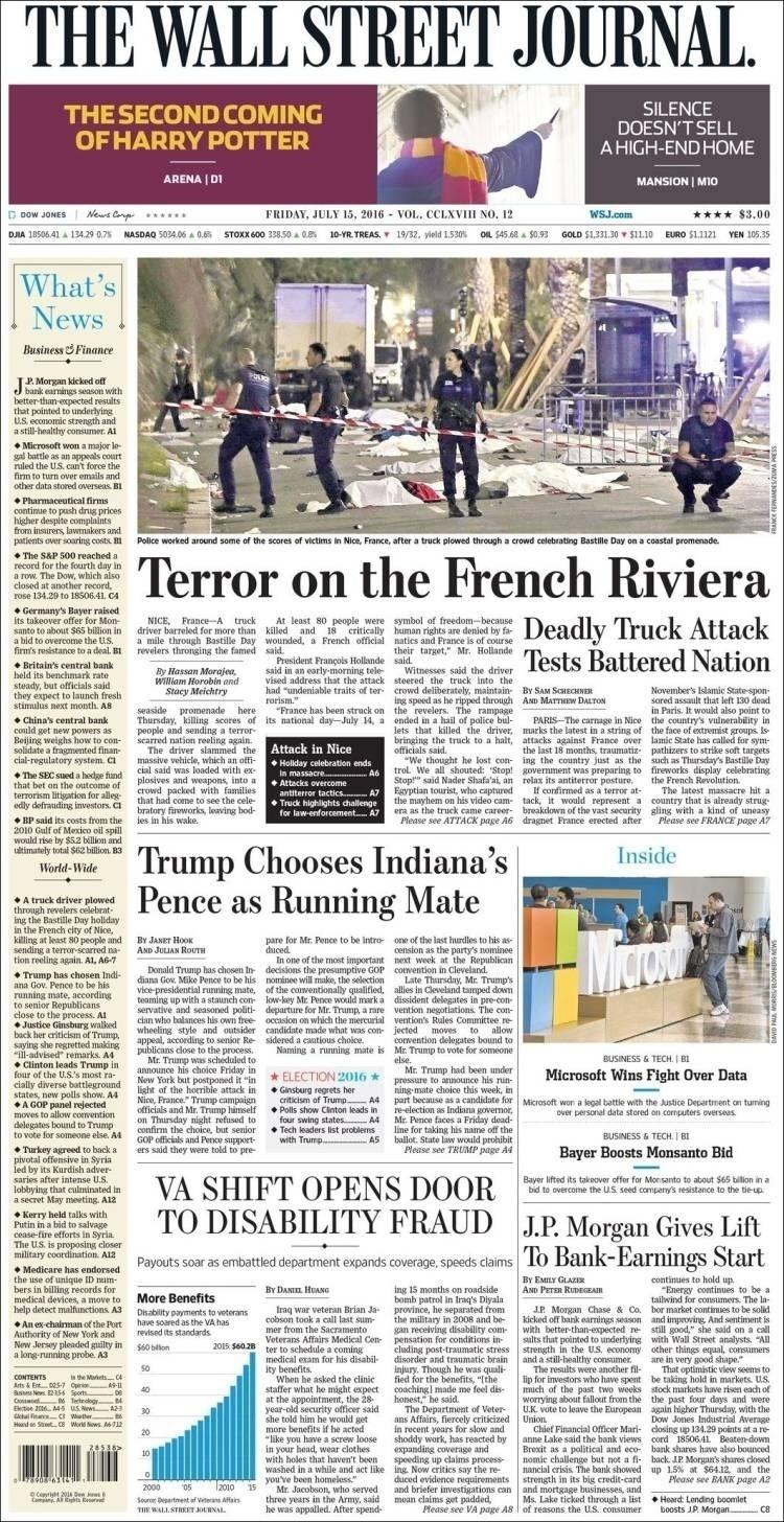 """""""Terror na Riviera Francesa"""", mancheta o jornal norte-americano Wall Street Journal, o periódico com maior circulação nos Estados Unidos"""