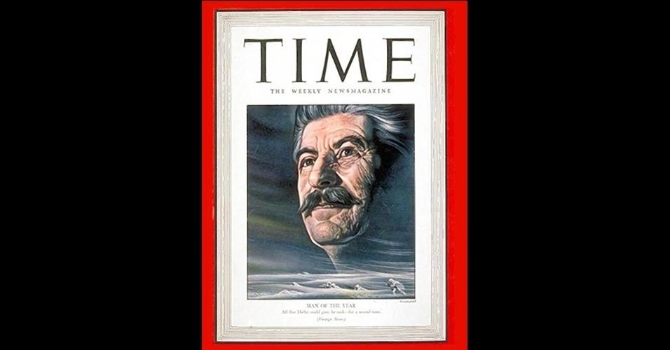"""Joseph Stalin (1939 e 1942) - Outra das escolhas polêmicas da """"Time"""", o líder da União Soviética, acusado de matar milhões de pessoas durante seu período à frente do regime, ganhou a capa duas vezes, em 1939 e 1942, por sua participação como comandante soviético durante a Segunda Guerra Mundial"""