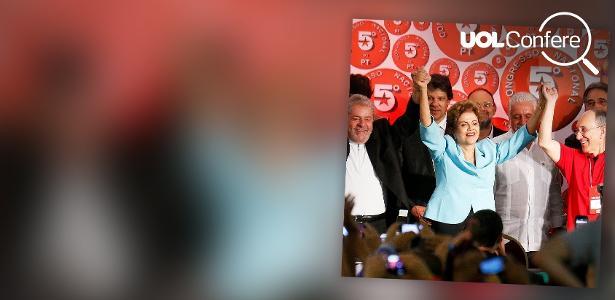 Luiz Inácio Lula da Silva e Dilma Rousseff, com Fernando Haddad atrás, no Congresso do PT em Salvador, em 2015