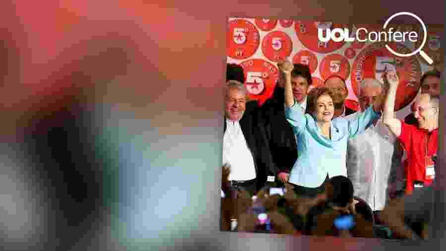 Luiz Inácio Lula da Silva e Dilma Rousseff, com Fernando Haddad atrás, no Congresso do PT em Salvador, em 2015 - Arte/UOL
