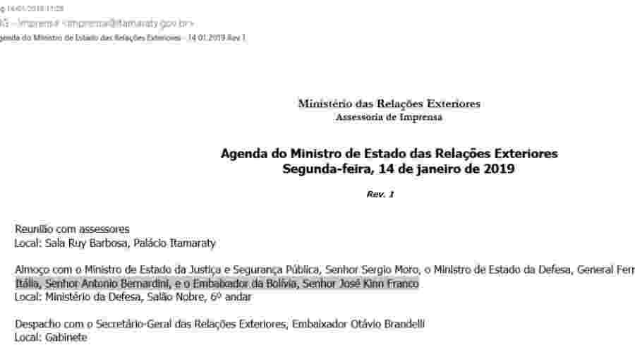 Agenda do Ministério da Relações Exteriores - Reprodução
