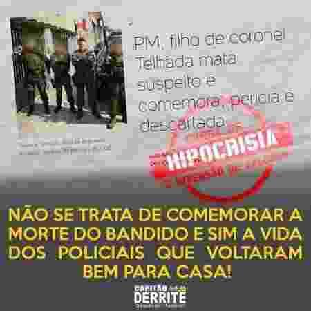 Imagem publicada pelo deputado federal Guilherme Derrite, amigo do tenente Telhada - 04.mar.2019 - Reprodução/Instagram - 04.mar.2019 - Reprodução/Instagram