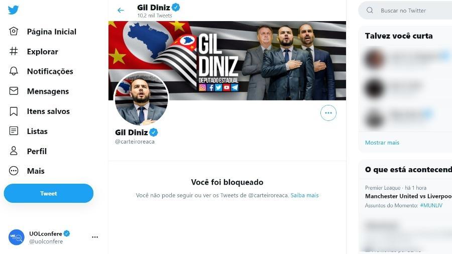 14.mai.2021 - Captura de tela mostra bloqueio do deputado estadual paulista Gil Diniz ao perfil do UOL Confere no Twitter - Reprodução/Twitter UOL Confere