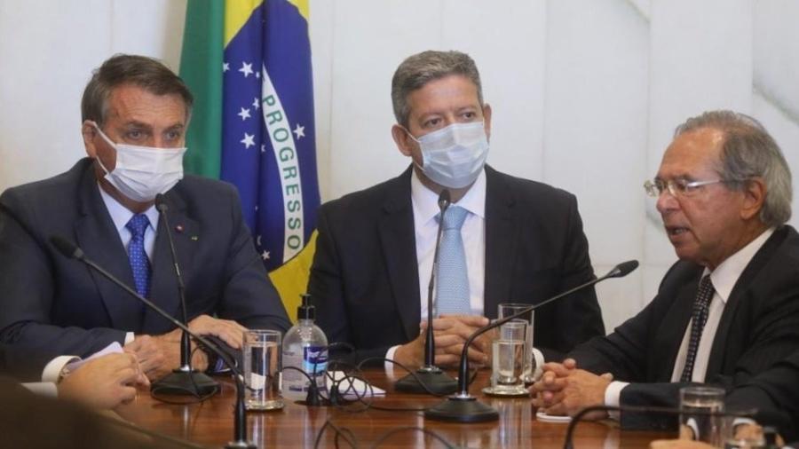 Bolsonaro, Arthur Lira, Paulo Guedes, auxílio brasil - Cleia Viana/Câmara dos Deputados