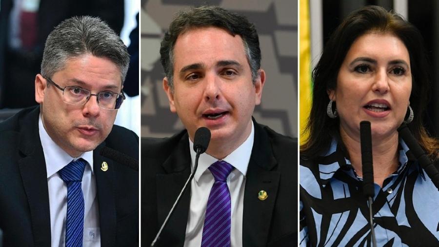 Os senadores presidenciáveis avaliados pela última pesquisa Datafolha: Alessandro Vieira (Cidadania-SE), Rodrigo Pacheco (DEM-MG) e Simone Tebet (MDB-MS) - Arte/ UOL