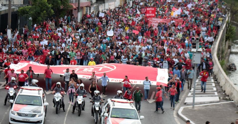 19.jan.2016 - Um quarto protesto contra o aumento das tarifas do transporte público tem origem na estação de metrô Capão Redonda, na zona sul de São Paulo. Manifestação também é organizada pelo MTST (Movimento dos Trabalhadores Sem Teto), em apoio ao Movimento Passe Livre (MPL)