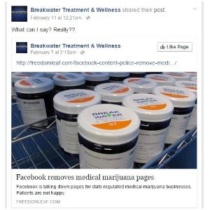 16.fev.2016 - Breakwater Treatment & Wellness, empresa de Nova Jersey de tratamentos alternativos com uso de maconha, critica política do Facebook de fechar páginas do ramo