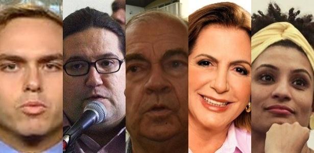 Da esquerda para a direita, o vereadores mais votados do Rio: Carlos Bolsonaro, Tarcísio Motta, Cesar Maia, Rosa Fernandes e Marielle Franco