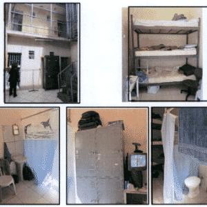 As celas em que vivem os PMs suspeitos de terem praticado crimes - Reprodução/MNPCT