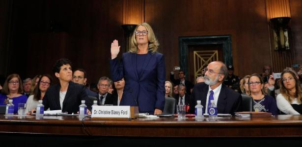 27.set.2018 - Christine Blasey Ford fala na Comissão de Justiça do Senado americano - Jim Bourg/AFP