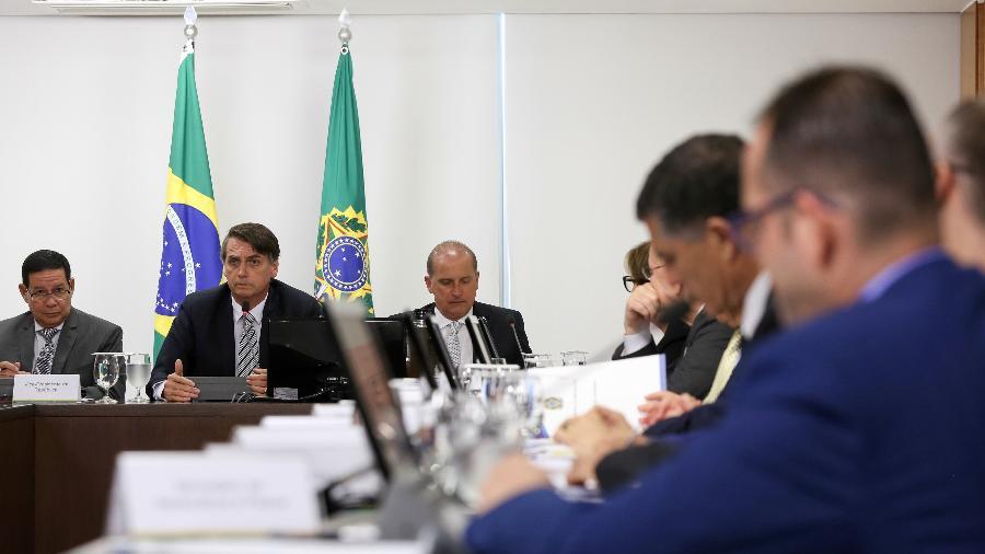 O presidente Jair Bolsonaro voltou a conduzir a reunião do Conselho de Governo, a primeira dele após a internação - Marcos Corrêa/PR