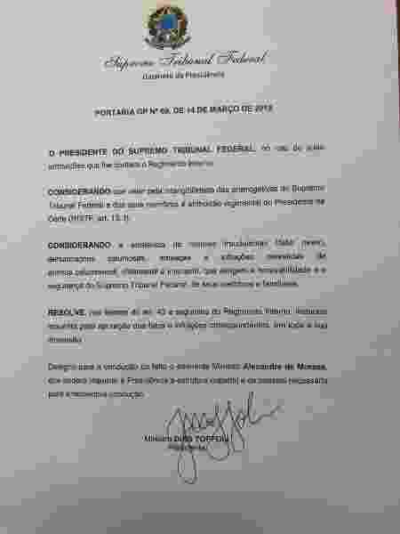 Toffoli abre inquérito para apurar ofensas e ameaças a ministros - Reprodução
