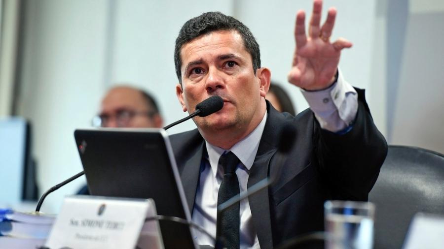 27.mar.2019 - Sergio Moro, ministro da Justiça e da Segurança Pública, participa de audiência na CCJ do Senado - Edilson Rodrigues/Agência Senado