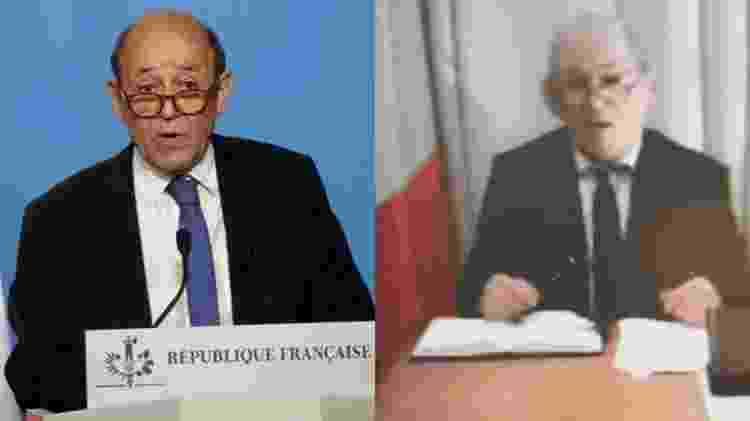 O verdadeiro Jean-Yves Le Drian está à esquerda na foto enquanto o fake Le Drian aparece à direita  - Getty Image