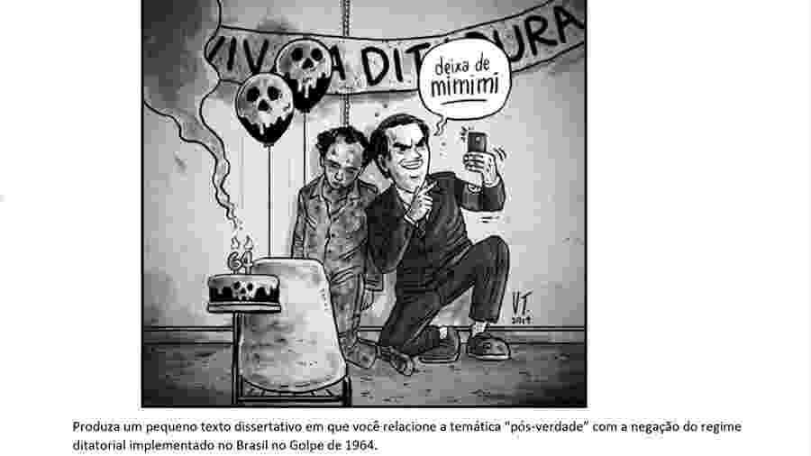Uma das questões da prova de história que gerou polêmica em Minas Gerais - Reprodução