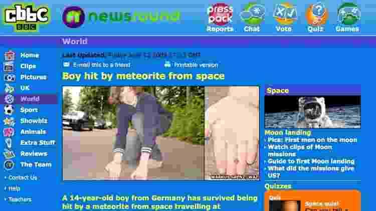 O site infantil da BBC, CBBC, foi um dos que noticiou o suposto caso de Gerrit Blank, mas nunca foi confirmado se tal objeto seria mesmo um meteorito - BBC - BBC