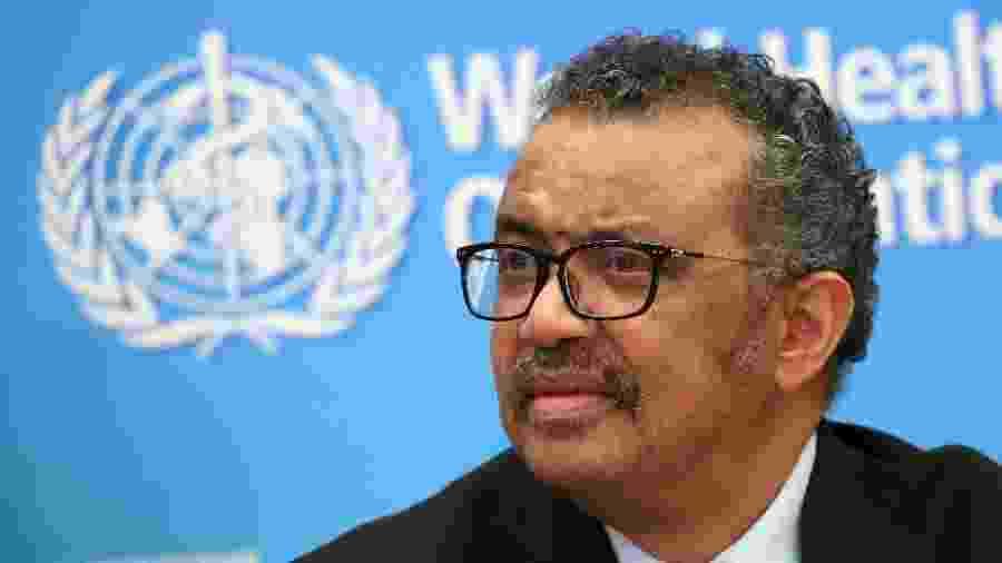 Diretor-geral da OMS, Tedros Adhanom Ghebreyesus, durante entrevista coletiva em Genebra -
