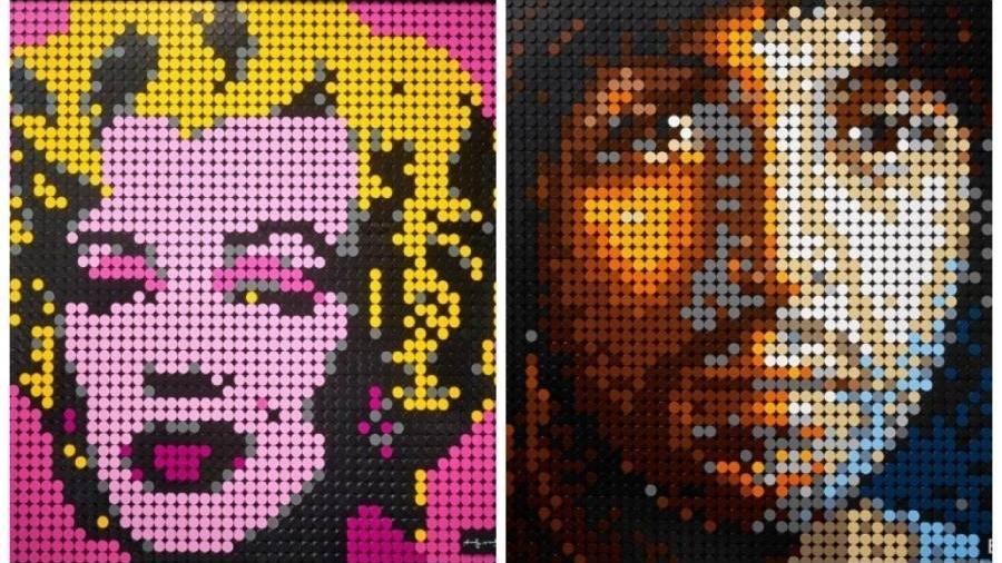 Montagem com os rostos de Marylin Monroe e Paul McCartney, novos produtos da linha Lego Art,voltada para adultos - Divulgação