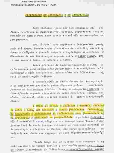 """Relatório da Funai de 1982 que reconheceu a realização de estudos para determinar """"critérios de indianidade"""" - Acervo do Arquivo Nacional/Reprodução - Acervo do Arquivo Nacional/Reprodução"""