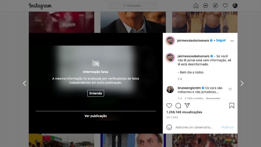 Post de bolsonaro é marcado como informação falsa no Instagram - Reprodução/Instagram
