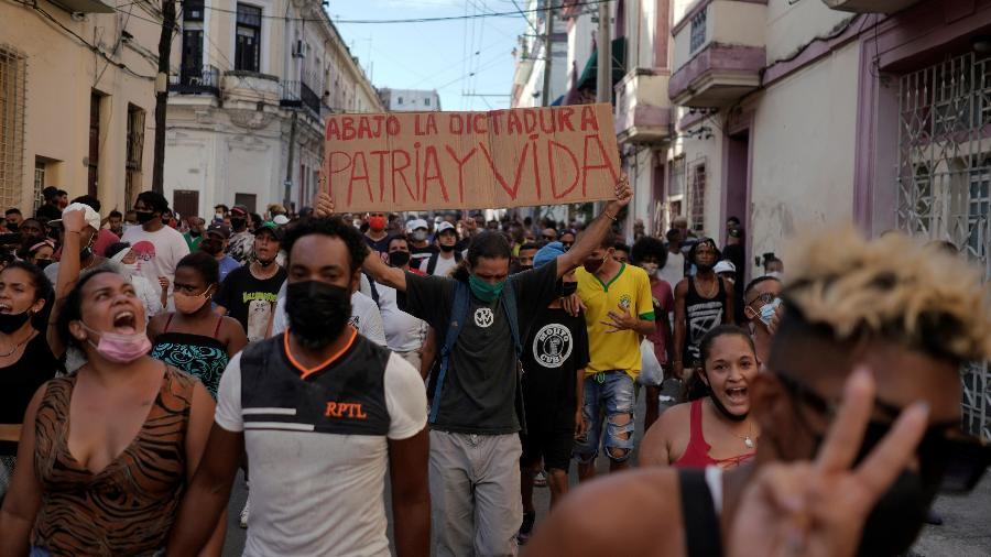 Protestos de 11 de julho, em Havana, Cuba - Alexandre Meneghini/Reuters