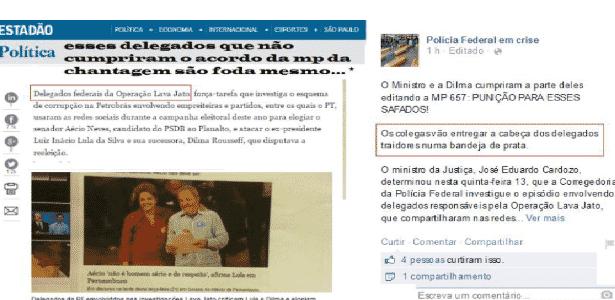 Página do Facebook anexada a processo movido por delegado da PF - TJ/SP - TJ/SP