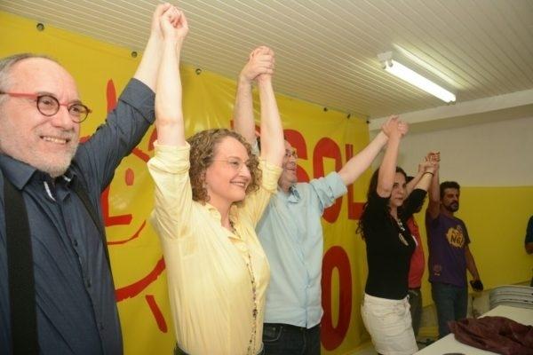 2.out.2016 - Luciana Genro (PSOL) concede entrevista coletiva depois do resultado do primeiro turno das eleições para a Prefeitura de Porto Alegre. Com 100% das urnas apuradas, a socialista terminou na quinta colocação, com 12,06% dos votos válidos