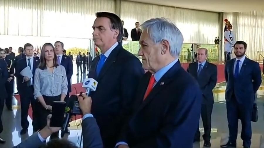 28.ago.2019 - Os presidentes do Brasil e do Chile, Jair Bolsonaro e Sebastián Piñera - Reprodução/Facebook/Jair Bolsonaro
