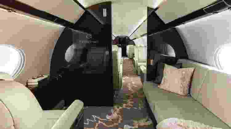 Além do acabamento interno, a pressurização da cabine com mais oxigênio também ajuda no conforto do Gulfstream G650ER - Divulgação - Divulgação