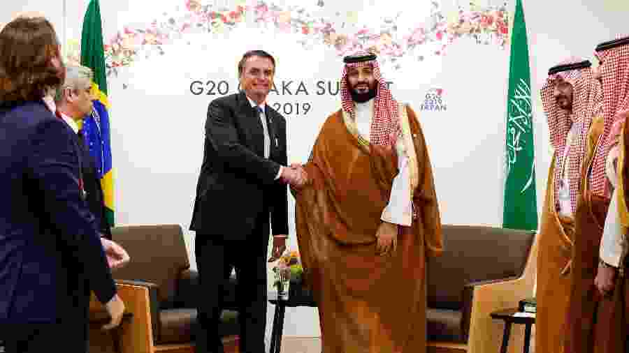 O presidente Jair Bolsonaro e o príncipe herdeiro da Arábia Saudita, Mohammed Bin Salman em encontro bilateral durante o G20 - Alan Santos/PR
