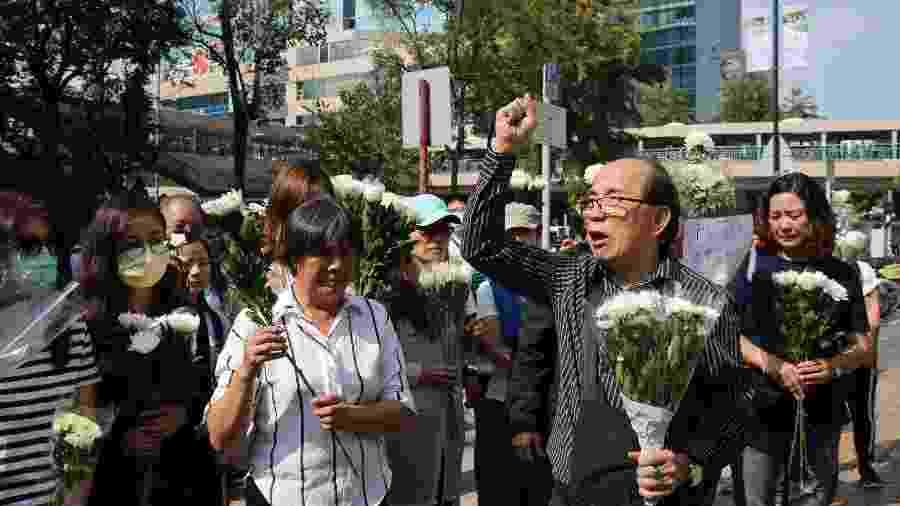 Manifestantes protestam em razão da morte de idoso em Hong Kong - Li Zhen/Xinhua