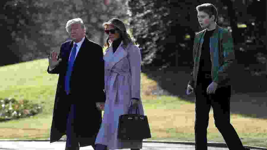 Donald Trump com Melania e Barron - REUTERS/Leah Millis
