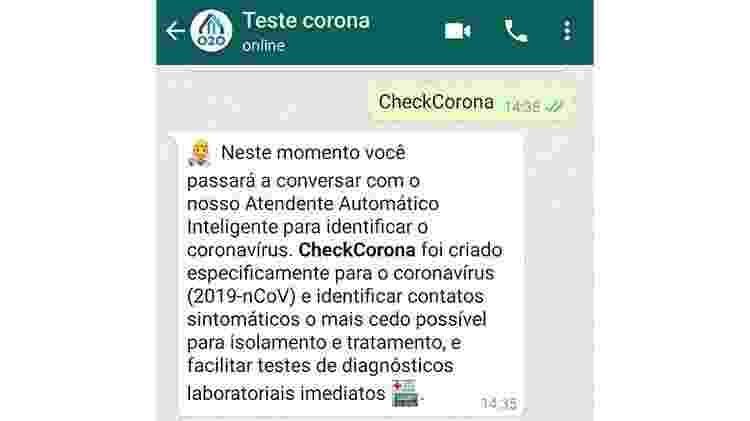 Bot do WhatsApp ajuda com dicas de prevenção e diagnóstico do coronavírus - Reprodução - Reprodução