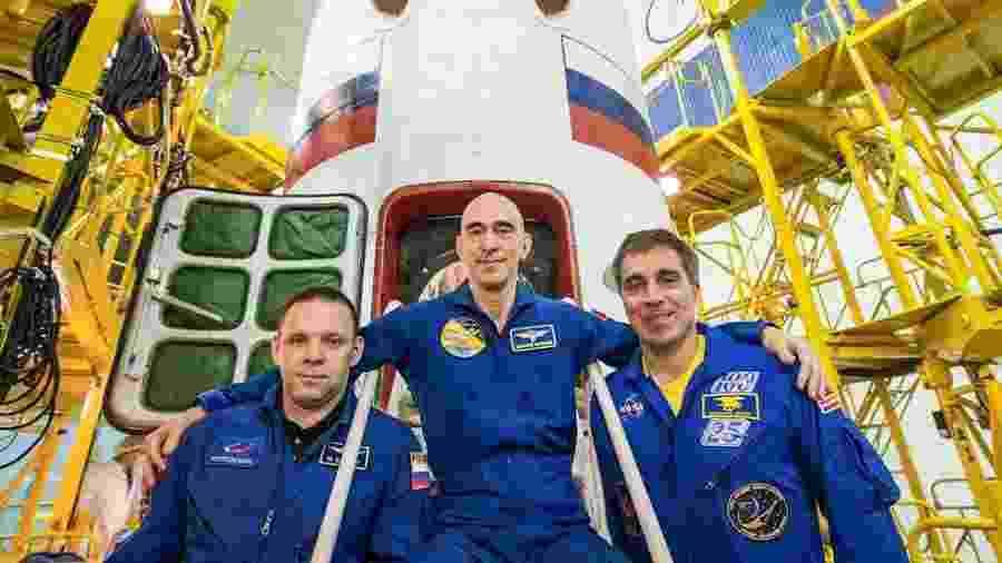 Tripulação que estava na ISS: Ivan Vagner (esquerda), Anatoly Ivanishin (centro) e Chris Cassidy (direita) - Nasa