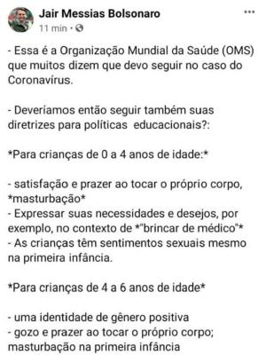 Jair Bolsonaro ataca OMS, mas volta atrás e deleta post - Reprodução/Facebook