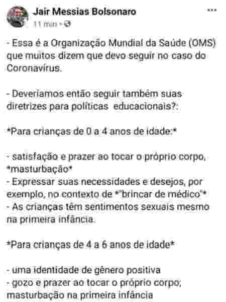 Jair Bolsonaro ataca OMS, mas volta atrás e deleta post - Reprodução/Facebook - Reprodução/Facebook