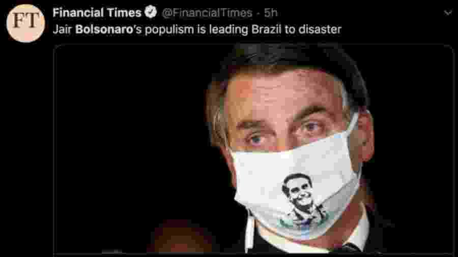 Veículos internacionais publicaram textos com duras críticas à resposta do presidente Jair Bolsonaro à crise gerada pelo coronavírus - Reprodução