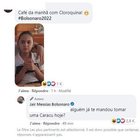 """Bolsonaro posta foto com filha e rebate crítica: """"Já tomou Caracu hoje?"""" - Reprodução"""
