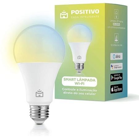 Smart Lâmpada Wi-Fi, LED 10W, Positivo - Compatível com Alexa Smart Lâmpada Wi-Fi - Divulgação - Divulgação
